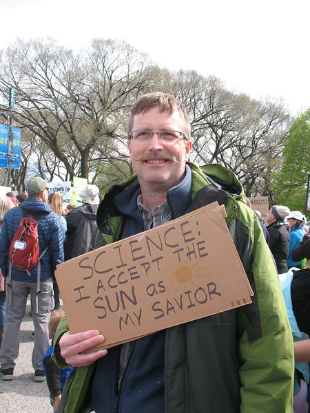 Biology prof Andy Neill from JJC, preaching the gospel of science!