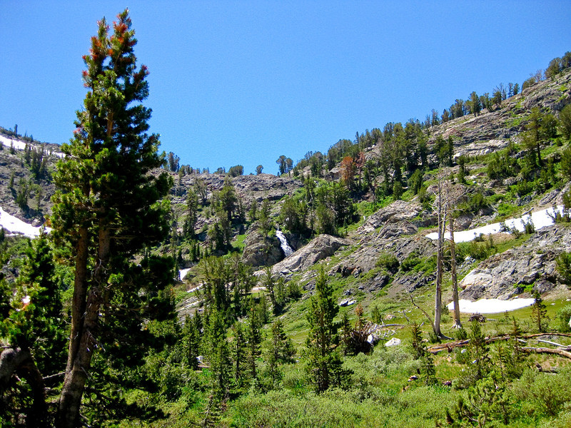 Spooky Meadows with waterfall. The trail is climbing uo on the right side. See map Green line