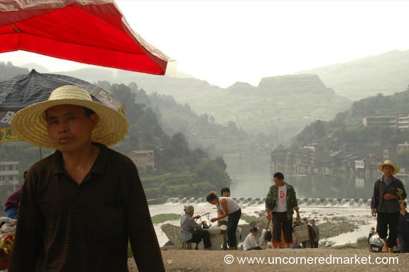 Man Heading Home from Market - Guizhou Province, China