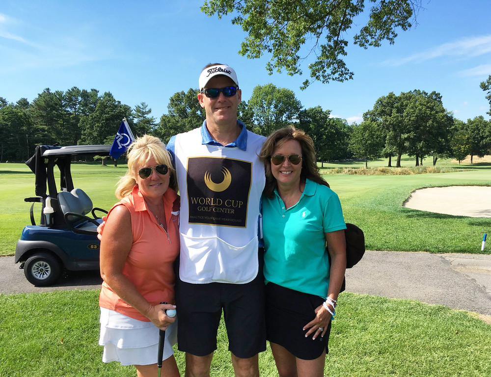 . From left, golfer Erin Hart and Al Hart, both of Chelmsford, and Colleen Cox of Tyngsboro