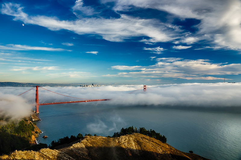 Blanketing the Golden Gate Bridge in fog