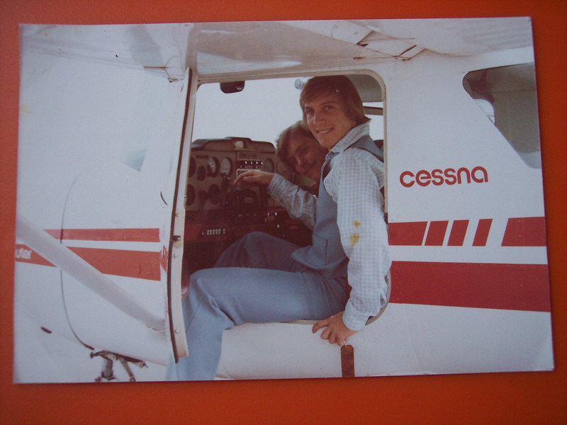 1978. Billy in a plane, with Mike, in Orange County.