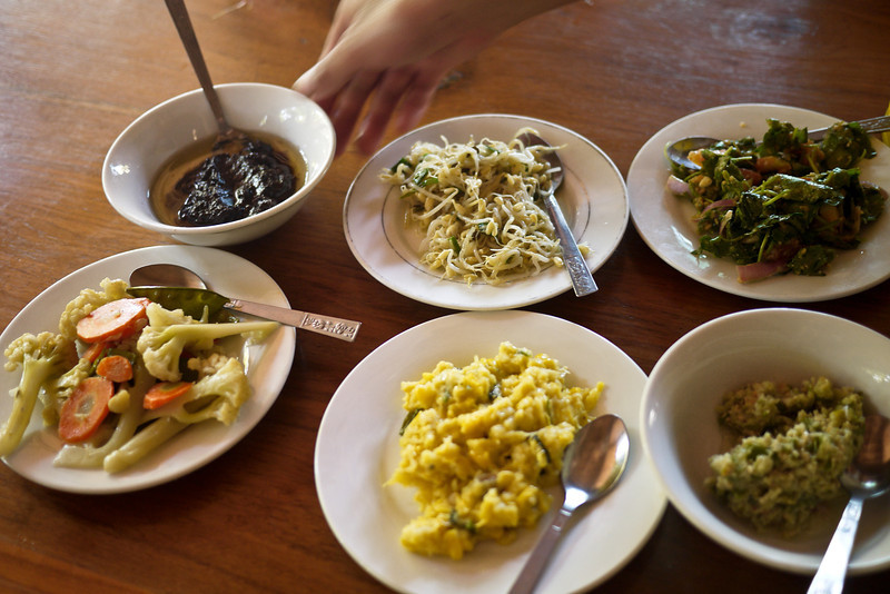 Family style lunch in Bagan, Burma (Myanmar)