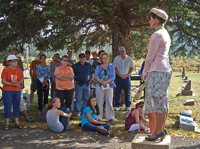 """Gorgeous weather welcomed the crowd to Rose Hill Cemetery for the 2012 Historical Cemetery Walk.  Here, Angela Matthews (Kaija Swisher) talks about her years of """"Going On Alone."""""""