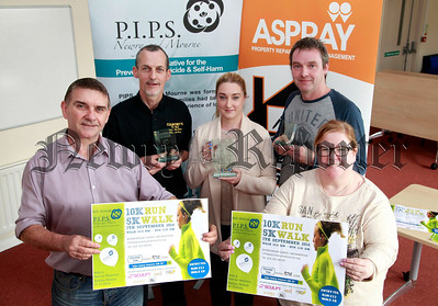 Pictured are Seamus McCabe, Eamon Murphy and Jenny Trainor of PIPS, with event sponsors Pat Courtney (Courtney Cafes Newry) and Maria Crilly from property management company Aspray Ltd, who have provided winners trophies for the past 4 years. This years event takes place on Sunday 7TH September from 10am. R1434013