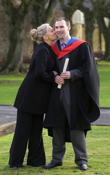 5/1/2012. News. Free to use image. Waterford Institute of Technology (WIT) conferring ceremony. Pictured is Jeff Spencer  with his wife Liz from Kilmacow, Co Kilkenny. Jeff graduated with a Higher Certificate in Building Services Engineering. Photo Patrick Browne