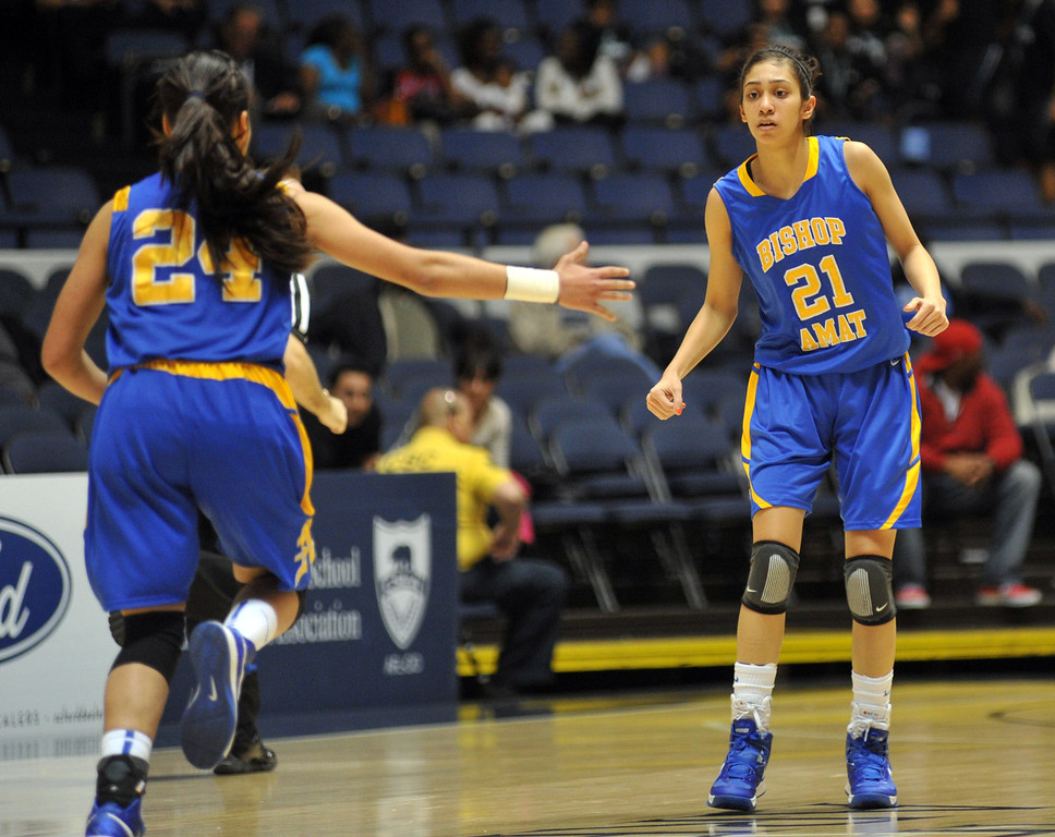 . Bishop Amat plays Canyon Springs in the CIF-SS Division 1A girls basketball finals at the Anaheim Arena on Friday March1, 2013. Canyon Springs beat Bishop Amat 48-46. (SGVN/Staff Photo by Keith Durflinger)
