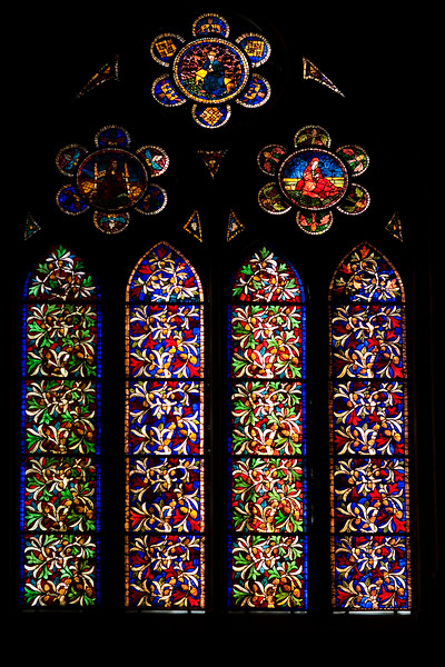 Stained glass Gothic window, Cathedral of the town of Leon, autonomous community of Castilla y Leon, northern Spain