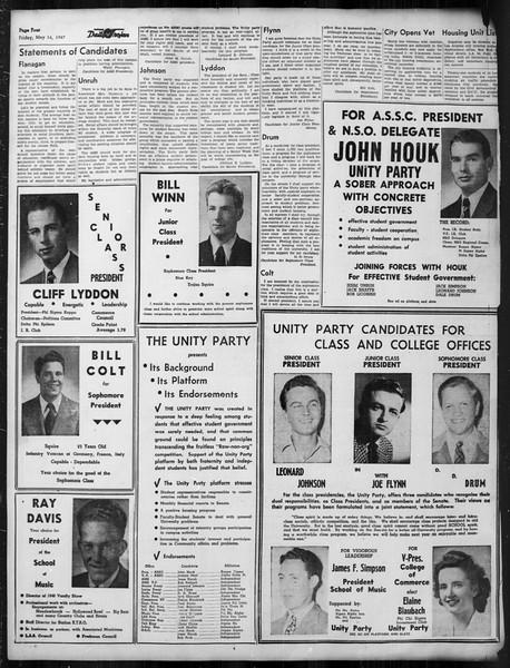 Daily Trojan, Vol. 38, No. 136, May 16, 1947