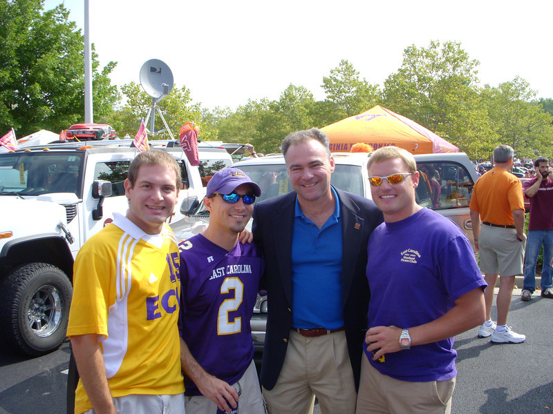 9/1/20079/1/2007 - ECU @ Virginia Tech - Virginia Governor Tim Kaine stops by our ECU tailgate with Jon Deutsch, Chris Webster & JG Ferguson
