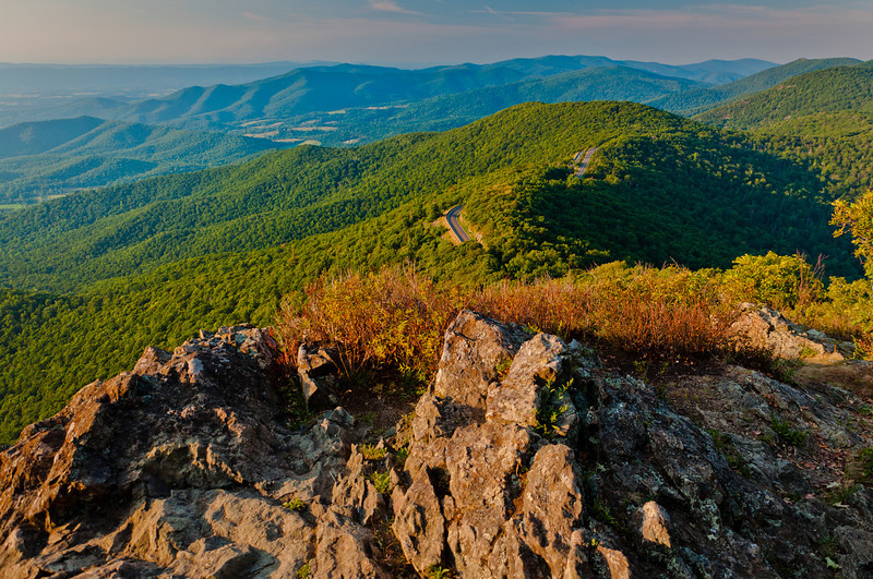 View of Blue Ridge Mountains from Little Stony Man Cliffs, Shenandoah National Park, Virginia
