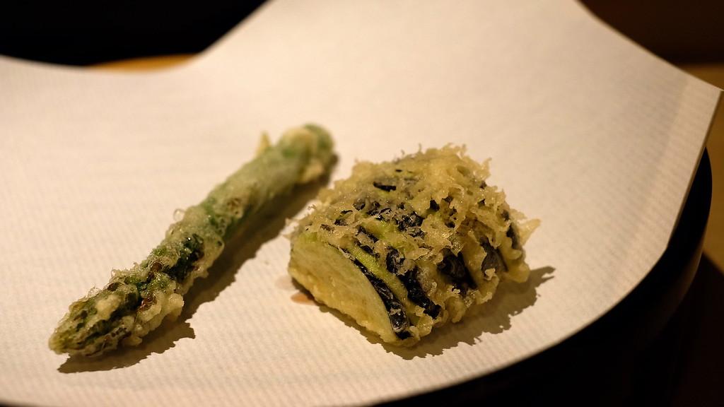 Asparagus and aubergine tempura.