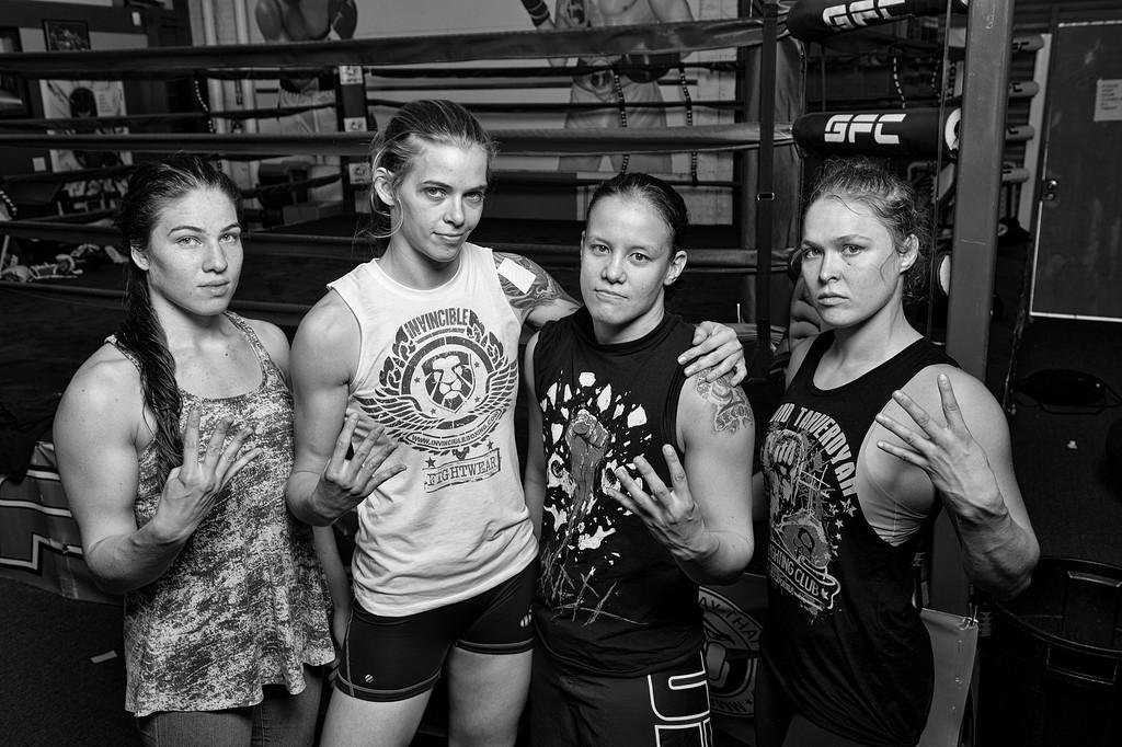 . The 4 Horsewomen Marina Shafir, Jessamyn Duke, Shayna Baszler  and Ronda Rousey. (Photo by Hans Gutknecht/Los Angeles Daily News)