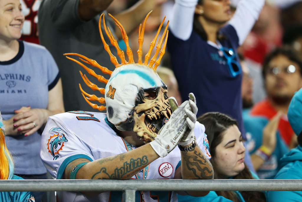 . TAMPA, FL - NOVEMBER 11:  A Miami Dolphins fan looks on in the first half against the Tampa Bay Buccaneers at Raymond James Stadium on November 11, 2013 in Tampa, Florida.  (Photo by Mike Ehrmann/Getty Images)