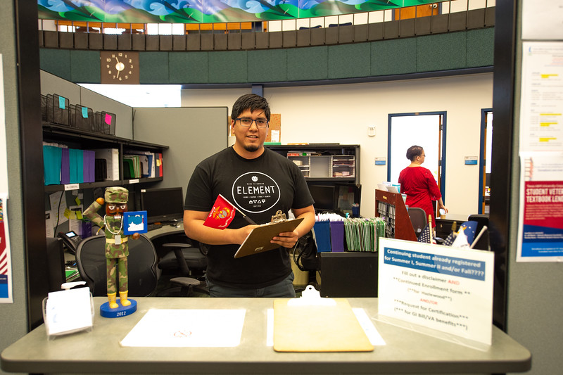 Christopher McCormick works at the Veteran's Office on the first floor of the Student Services Center and is always ready to answer any questions.