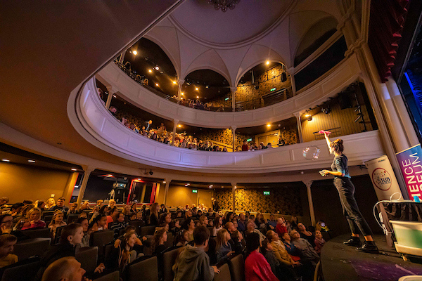 10/11/19.. Pictured during Science Week with WIT (Waterford Institute of Technology) by Calmast. Pictured during the Bubble show with the London Science Museum at The Theatre Royal, Waterford City. Picture: Patrick Browne