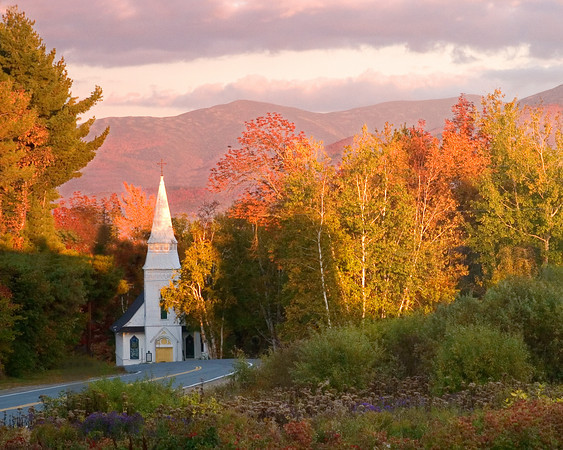New England Church in Autumn