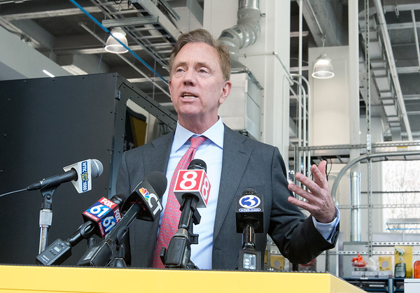 04/11/19 Wesley Bunnell | Staff Stanley Back & Decker launched their Advanced Manufacturing Center of Excellence, called Manufactury 4.0 on Thursday at its downtown Hartford location at 1 Constitution Plaza. Governor Ned Lamont speaks to the media regarding the opening.