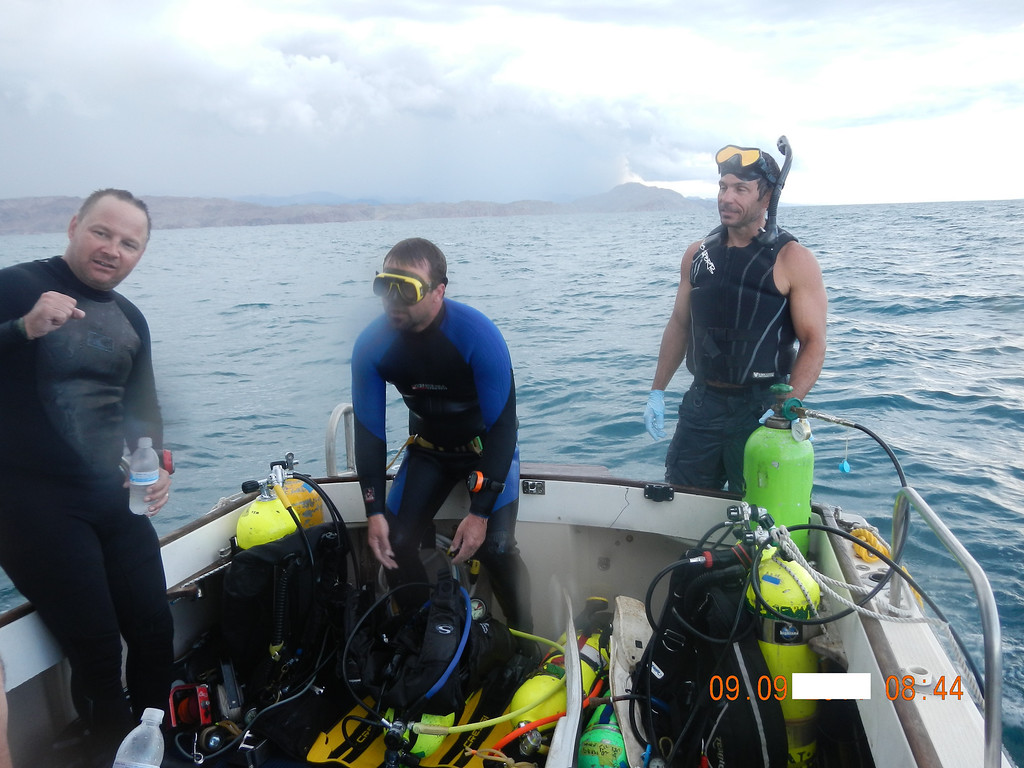 . From left, Dale Pierson, KC Stocks and Joe Jacinto talk after finding Jacinto\'s stepfather\'s remains on the Sea of Cortez in September.  (Courtesy of Joe Jacinto)