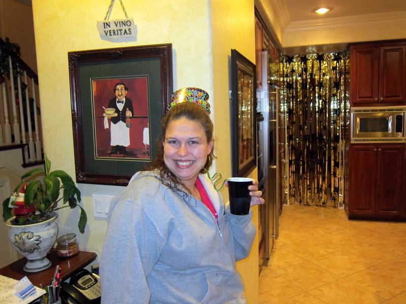 Karen with rum and coke.