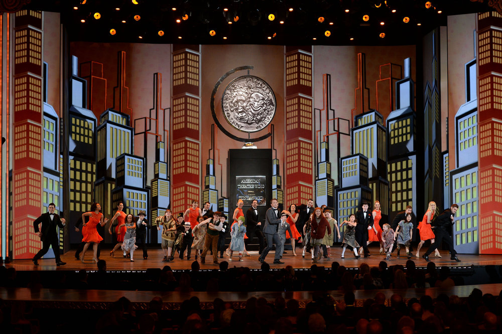 . Host Neil Patrick Harris and casts of Broadway shows perform onstage at The 67th Annual Tony Awards at Radio City Music Hall on June 9, 2013 in New York City.  (Photo by Andrew H. Walker/Getty Images for Tony Awards Productions)