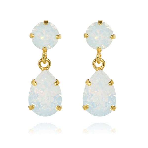 Mini Drop Earrings / White Opal Gold