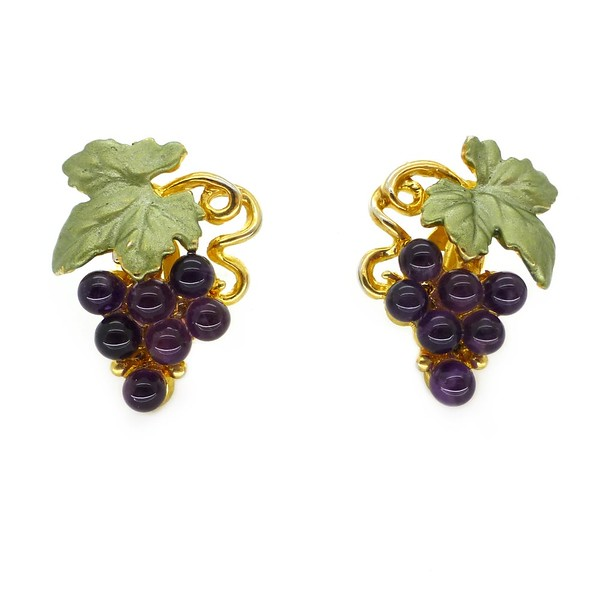 VINTAGE 90S GOLD TONE PURPLE GLASS CABOCHON GRAPE EARRINGS