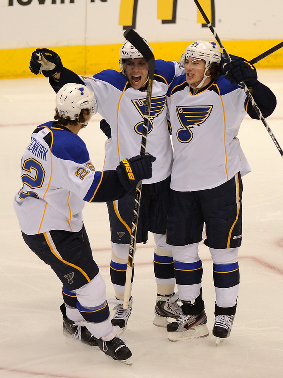 . St. Louis Blues\' Kevin Shattenkirk, from left, celebrates with David Perron and T.J. Oshie after Oshie\'s goal against the Kings in the first period, Monday, May 6, 2013, at Staples Center. (Michael Owen Baker/Staff Photographer)
