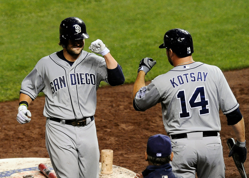 . San Diego Padres\' Mark Kotsay, right, congratulates teammate Jaff Decker after Decker hit a solo home run in the seventh inning of a baseball game against the Colorado Rockies on Monday, Aug. 12, 2013, in Denver. (AP Photo/Chris Schneider)