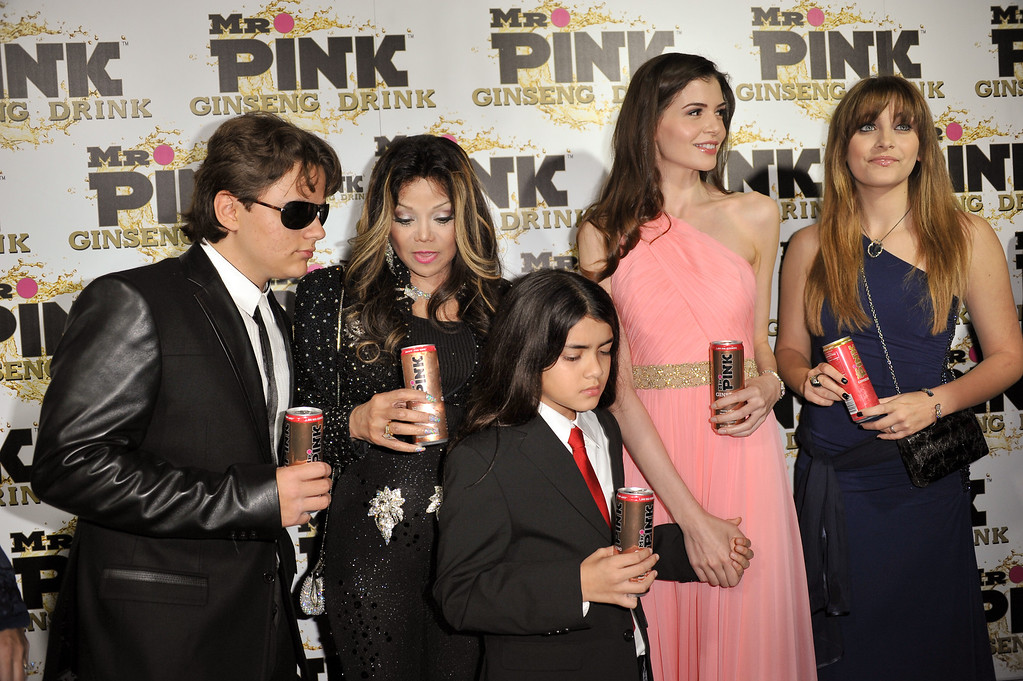 . From left, Prince Michael Jackson, LaToya Jackson, Blanket Jackson, Monica Gabor and Paris Jackson attend the Mr. Pink Ginseng launch party at the Beverly Wilshire hotel on Thursday, Oct. 11, 2012, in Beverly Hills, Calif. (Photo by Richard Shotwell/Invision/AP)