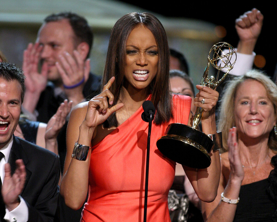 . TV personality Tyra Banks accepts the Emmy for Outstanding Talk Show/Informative during the 36th Annual Daytime Emmy Awards at The Orpheum Theatre on August 30, 2009 in Los Angeles, California.  (Photo by John Shearer/Getty Images for ATI)