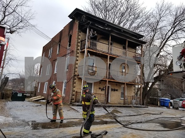Justin Muszynski | Staff An apartment fire on Dwight Street in Bristol displaced at least eight residents and killed two pets Tuesday morning.