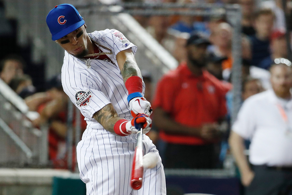 . Chicago Cubs Javier Báez (9) hits during the MLB Home Run Derby, at Nationals Park, Monday, July 16, 2018 in Washington. The 89th MLB baseball All-Star Game will be played Tuesday. (AP Photo/Alex Brandon)