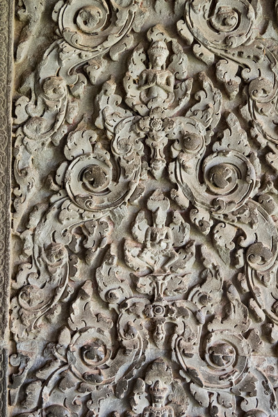 Delicate stone carving at Angkor Wat Temple