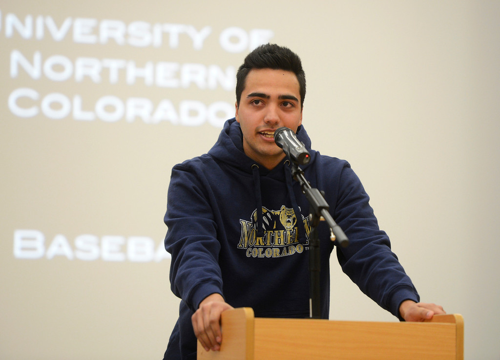 . HIGHLANDS RANCH, CO. - FEBRUARY 05: Marco Castilla, a Valor Christian High School senior baseball player, son of former Colorado Rockies baseball player, Vinny Castilla, gives a speech during an assembly for National Letter of Intent Day at Valor Wednesday morning, February 05, 2014. Marco Castilla signed with the University of Northern Colorado.  (Photo By Andy Cross / The Denver Post)