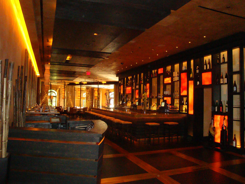 The Yellowtail Sushi Bar in the Bellagio. Beautiful wood lath panels in the background.