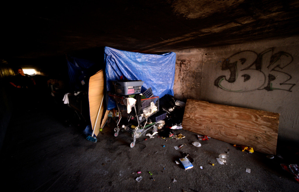 . Evidence of a homeless camp is visible in the wash underneath 40th Street in San Bernardino August 14, 2013.  GABREL LUIS ACOSTA/STAFF PHOTOGRAPHER.