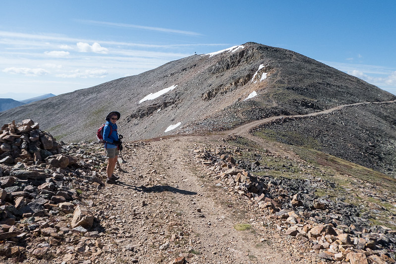 Looking back at Kuss from the saddle with Mosquito Peak