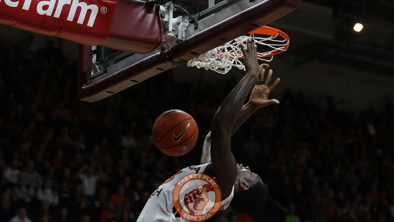 Tyrece Radford dunks the ball after a fast break in the second half. (Mark Umansky/TheKeyPlay.com)