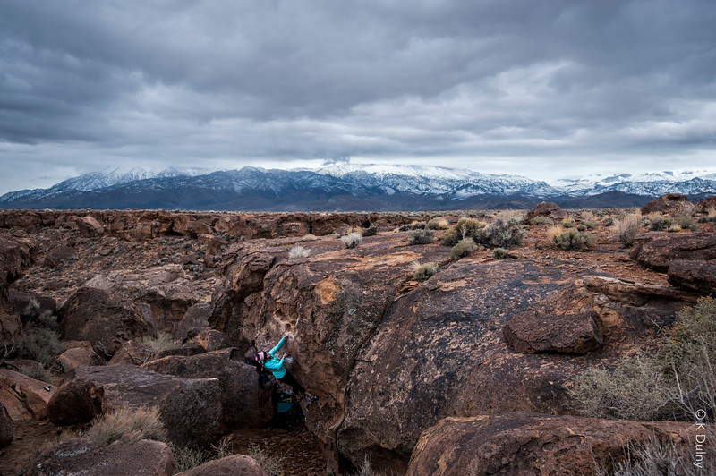 Climber warming up in the volcanic table lands of Bishop, California.