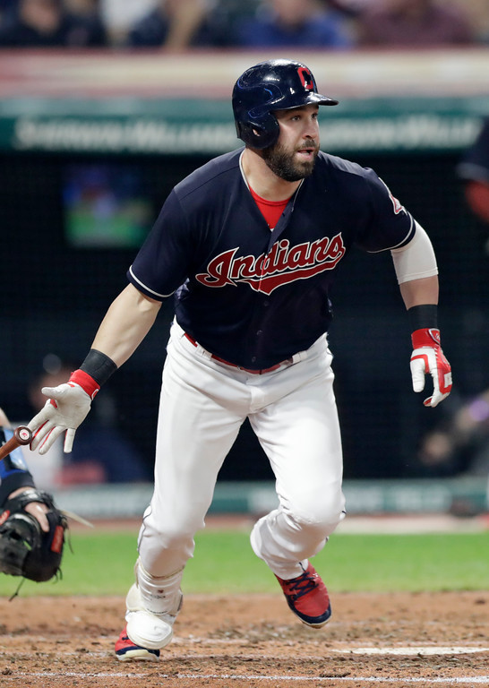 . Cleveland Indians\' Jason Kipnis watches his ball after hitting an RBI-single in the fourth inning of a baseball game against the Kansas City Royals, Tuesday, Sept. 4, 2018, in Cleveland. (AP Photo/Tony Dejak)