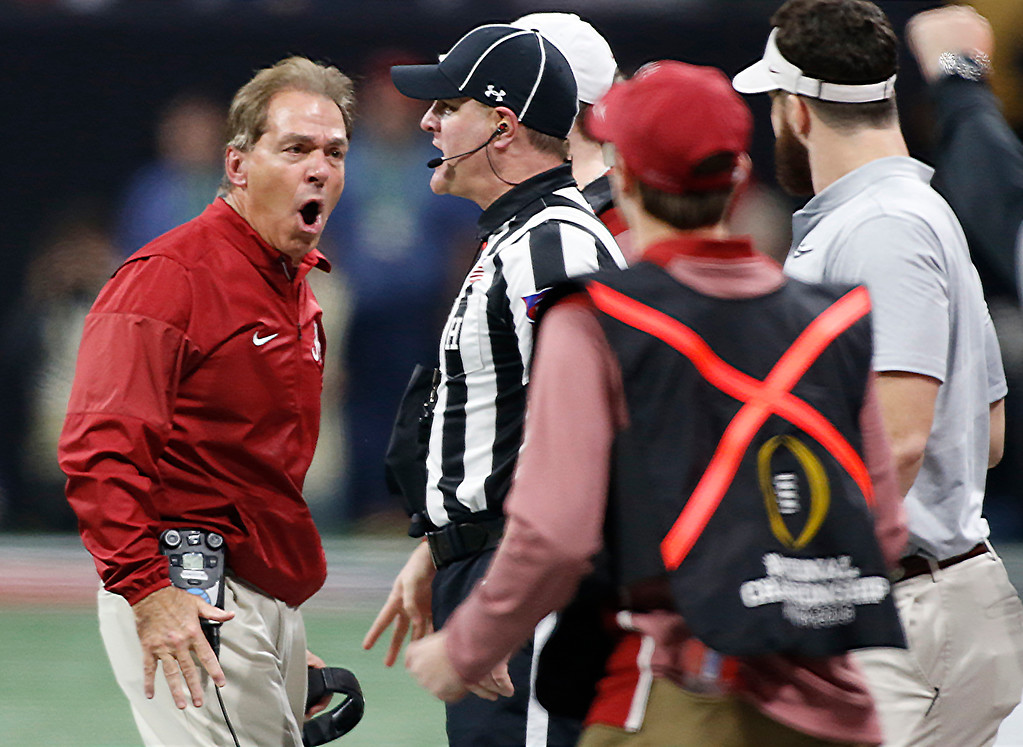 . Alabama coach Nick Saban argues a call during the first half of the NCAA college football playoff championship game against Georgia in Atlanta on Monday, Jan. 8, 2018. (Joshua L. Jones/Athens Banner-Herald via AP)