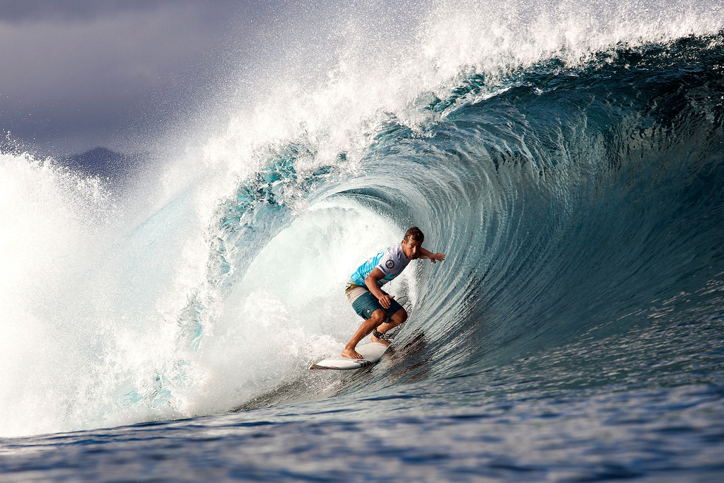 . In this photo provided by the Association of Surfing Professionals, Travis Logie of South Africa competes in the Billabong Pipe Masters surfing competition on Sunday, Dec. 9, 2012 near Haleiwa, Hawaii. (AP Photo/Association of Surfing Professionals, Kelly Cestari)