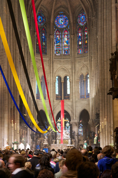 Inside Notre Dame. A service was in progress.
