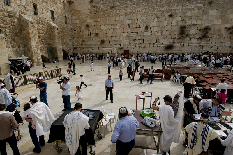 Worshippers gathered near Western Wall in Jerusalem, Israel