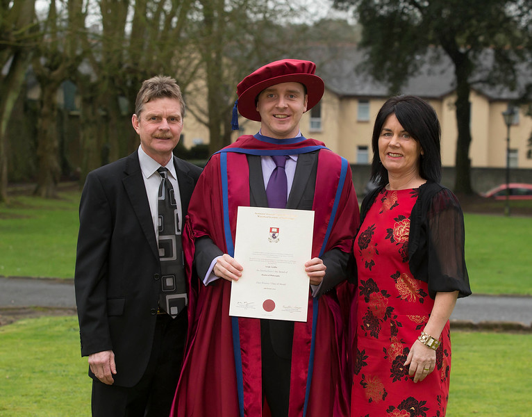 Pictured is Leigh Griffin, Waterford who was conferred a Doctor of Philosophy, also pictured is Gerard and Bernie Griffin. Picture: Patrick Browne.