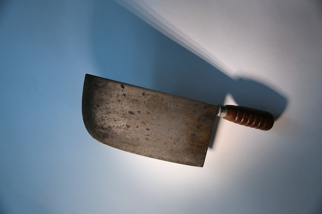 . A meat cleaver is displayed after being confiscated at an airport security checkpoint at the JFK International Airport on November 18, 2014 in New York City.  (Photo by John Moore/Getty Images)