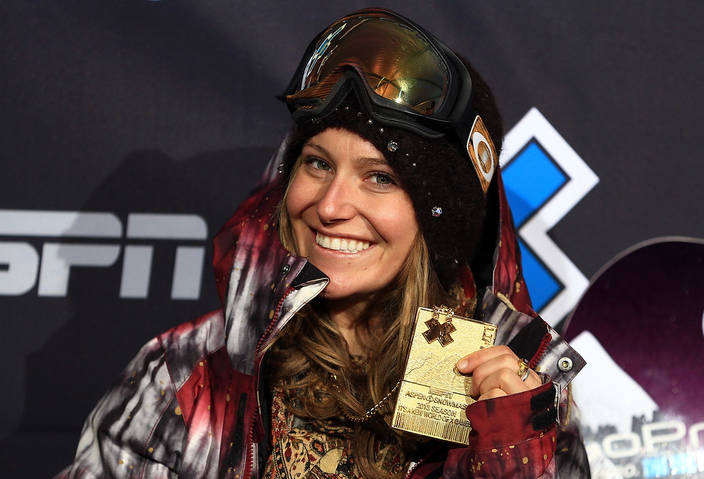 . Jamie Anderson of the USA poses with her gold medal after winning the Women\'s Snowboard Slopestyle during Winter X Games Aspen 2013 at Buttermilk Mountain on January 26, 2013 in Aspen, Colorado.  (Photo by Doug Pensinger/Getty Images)