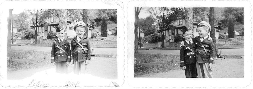 . Writes BEVERLY of St. Paul: �The two smaller pictures are of my nephews Rollie and Richard. These were taken during WWII: 1944. Most of us girls lived at home with our mother, and oh! How we spoiled them! They were 5 to 6 years old, and both of their fathers were in the service. I can�t believe they are in their 70s. Very patriotic, wouldn�t you say?""