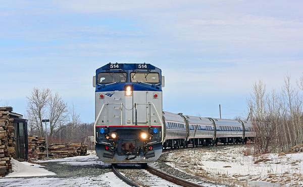 Amtrak Adirondack, Lacolle (Cantic), Quebec, March 24 2019.